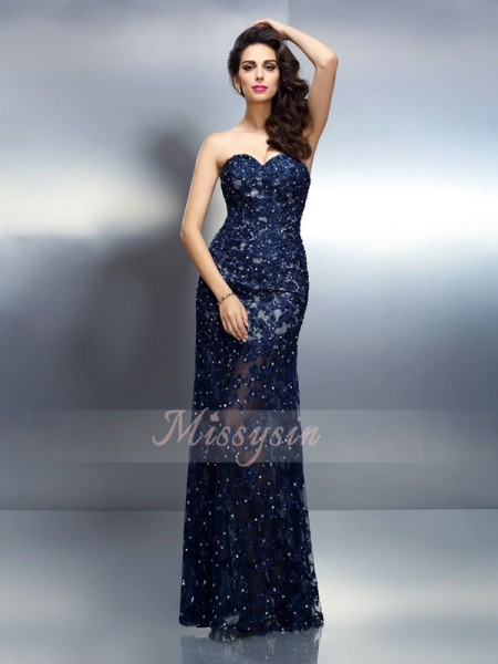 Trumpet/Mermaid Sweetheart Elastic Woven Satin Beading Sleeveless Floor-Length Dresses