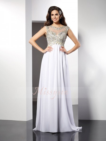 A-Line/Princess Bateau Chiffon Ruffles Sleeveless Floor-Length Dresses