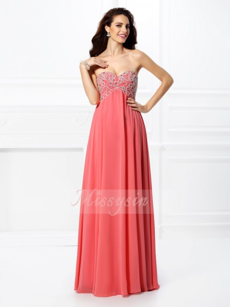 A-Line/Princess Sweetheart Chiffon Beading Sleeveless Floor-Length Dresses