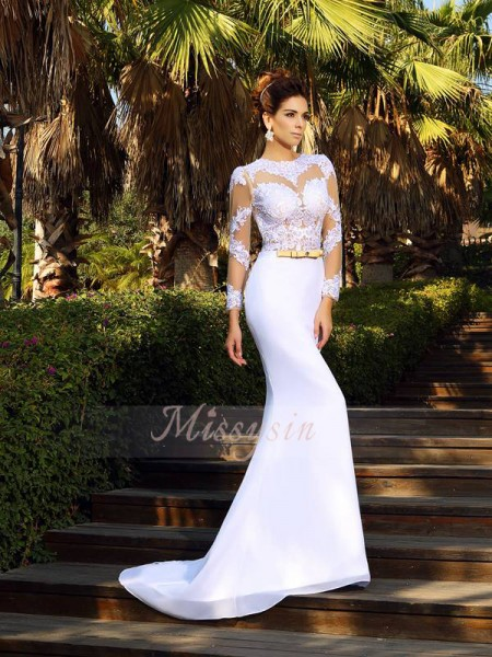 Sheath/Column Scoop Satin Applique Long Sleeves Court Train Wedding Dresses