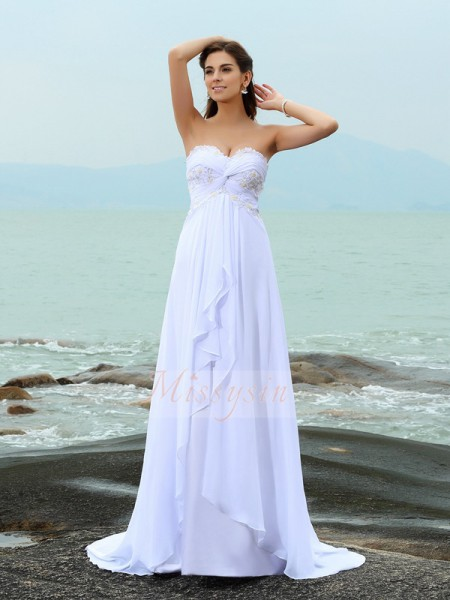 A-Line/Princess Sweetheart Chiffon Beading Sleeveless Sweep/Brush Train Wedding Dresses