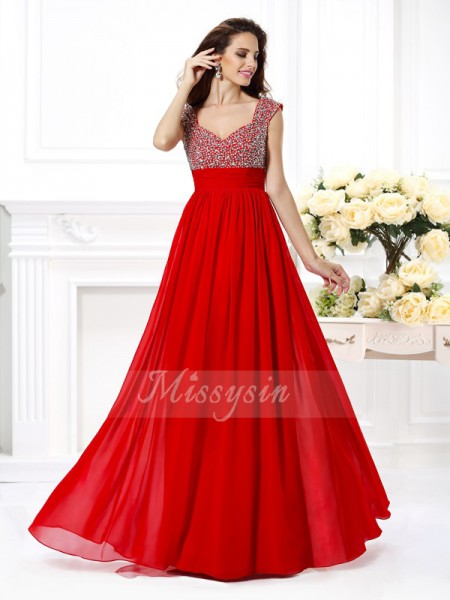 A-Line/Princess Straps Chiffon Beading,Paillette Sleeveless Floor-Length Dresses