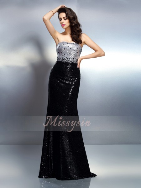 Trumpet/Mermaid Strapless Sequins Sequin Sleeveless Sweep/Brush Train Dresses