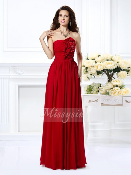 A-Line/Princess Strapless Chiffon Hand-Made Flower Sleeveless Floor-Length Bridesmaid Dresses