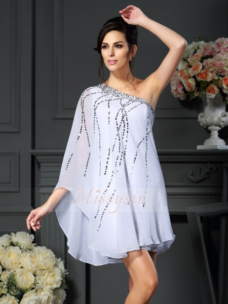 A-Line/Princess One-Shoulder Chiffon Sequin Sleeveless Short/Mini Mother of the Bride Dresses
