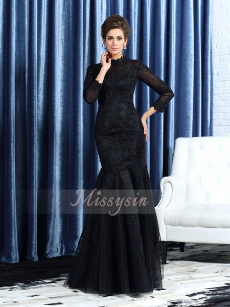 Trumpet/Mermaid High Neck Tulle Applique Long Sleeves Floor-Length Mother of the Bride Dresses