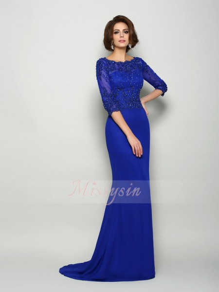 Trumpet/Mermaid Scoop Chiffon Beading,Applique 3/4 Sleeves Sweep/Brush Train Mother of the Bride Dresses