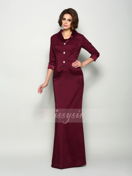 A-Line/Princess Square Elastic Woven Satin Sleeveless Floor-Length Mother of the Bride Dresses