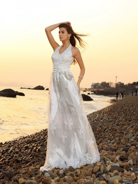 A-Line/Princess Lace Chapel Train Halter Sleeveless Sash/Ribbon/Belt Wedding Dresses