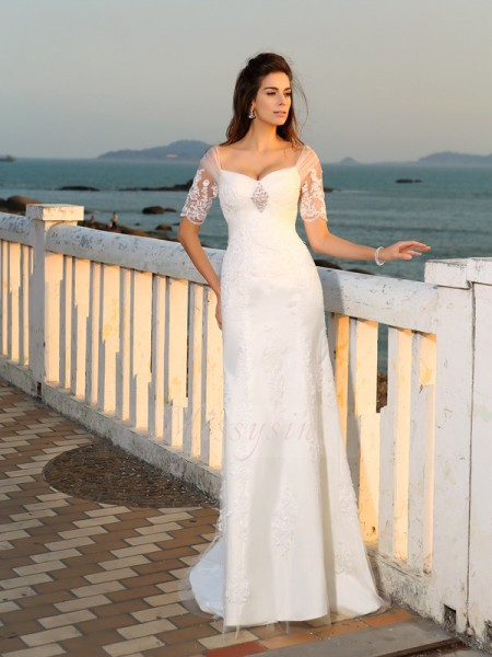Sheath/Column Satin Floor-Length Sweetheart Short Sleeves Applique Wedding Dresses