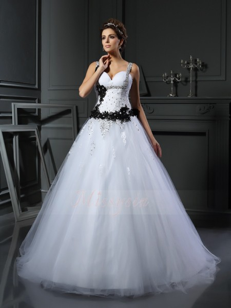 Ball Gown Tulle Chapel Train Straps Sleeveless Beading,Applique Wedding Dresses