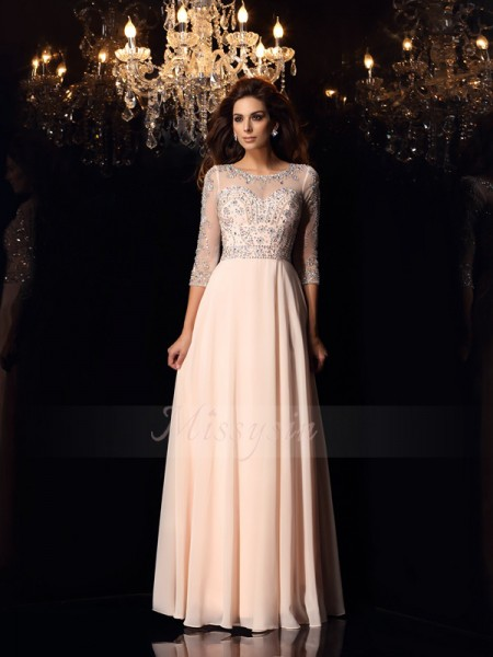 A-Line/Princess Chiffon Floor-Length Scoop 3/4 Sleeves Beading Dresses
