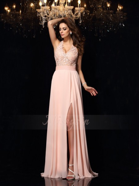 A-Line/Princess Chiffon Sweep/Brush Train Halter Sleeveless Dresses