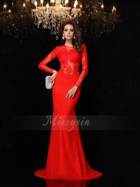 Sheath/Column Chiffon Court Train Scoop Long Sleeves Dresses