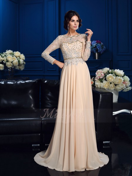 A-Line/Princess Long Sleeves Scoop Beading Chiffon Sweep/Brush Train Mother of the Bride Dresses