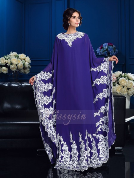 A-Line/Princess Long Sleeves Scoop Applique Chiffon Floor-Length Mother of the Bride Dresses