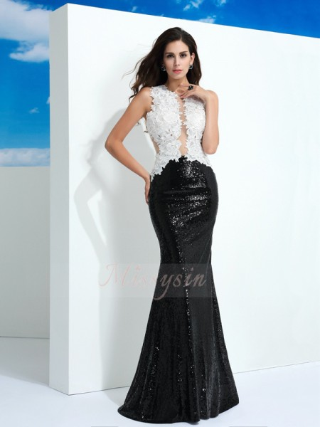 Sheath/Column Sleeveless Scoop Paillette Lace Floor-Length Dresses