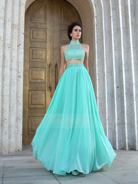 A-Line/Princess Sleeveless High Neck Beading Chiffon Floor-Length Dresses