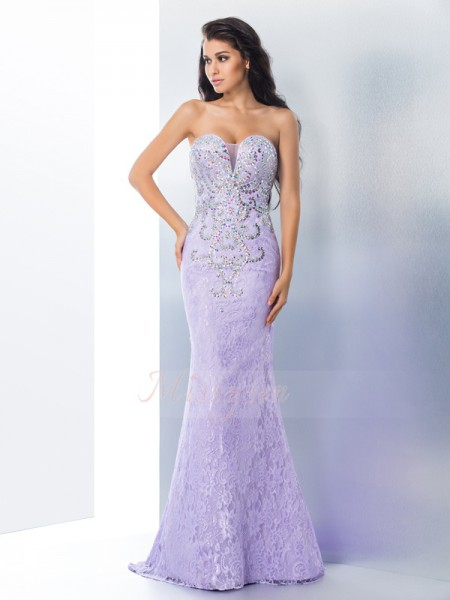 Trumpet/Mermaid Sleeveless Sweetheart Beading Lace Sweep/Brush Train Dresses
