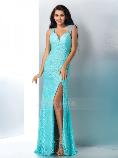 Trumpet/Mermaid Sleeveless Sweetheart Beading Lace Floor-Length Dresses