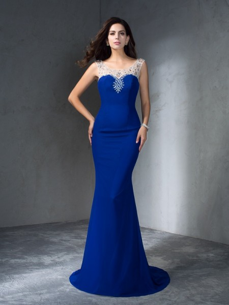 Trumpet/Mermaid Sleeveless Scoop Beading Chiffon Sweep/Brush Train Dresses