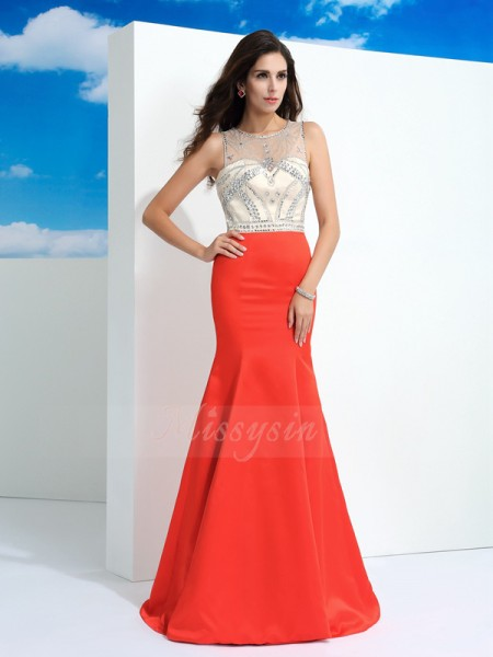 Trumpet/Mermaid Sleeveless Sheer Neck Beading Satin Floor-Length Dresses