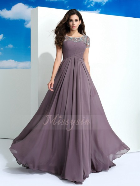 A-Line/Princess Short Sleeves Sheer Neck Beading Chiffon Floor-Length Dresses