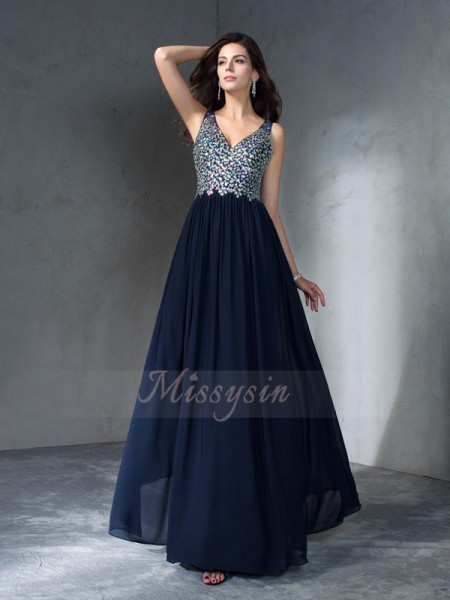 A-Line/Princess Sleeveless V-neck Beading Chiffon Floor-Length Dresses
