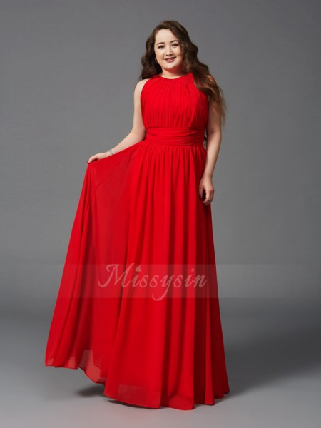 A-Line/Princess Sleeveless Jewel Ruched Chiffon Floor-Length Plus Size Dresses