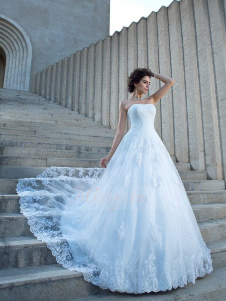 Ball Gown Sleeveless Spaghetti Straps Applique Satin Chapel Train Wedding Dresses