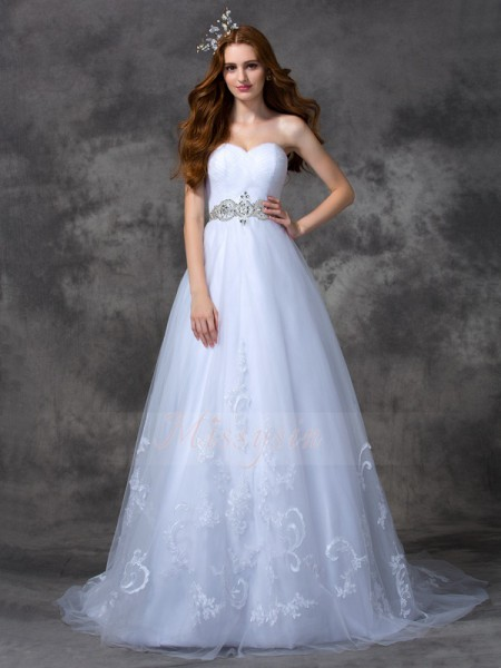 A-line/Princess Sleeveless Sweetheart Beading Satin Sweep/Brush Train Wedding Dresses