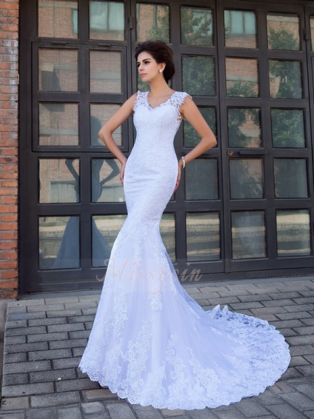 Trumpet/Mermaid Sleeveless V-neck Applique Satin Chapel Train Wedding Dresses
