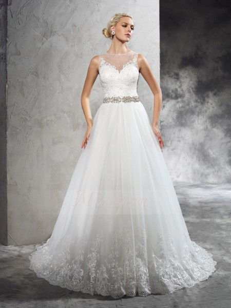A-Line/Princess Sleeveless Sheer Neck Beading Net Court Train Wedding Dresses