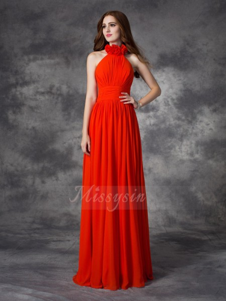 A-line/Princess Sleeveless Halter Hand-Made Flower Chiffon Floor-length Bridesmaid Dresses