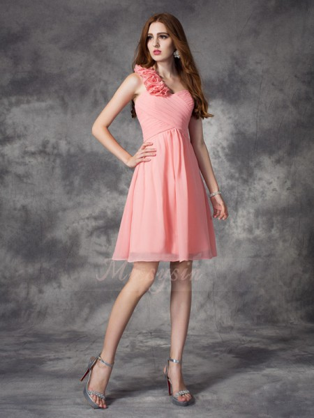 A-line/Princess Sleeveless One-Shoulder Hand-Made Flower Chiffon Short/Mini Bridesmaid Dresses