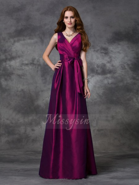A-line/Princess Sleeveless V-neck Sash/Ribbon/Belt Taffeta Floor-length Bridesmaid Dresses