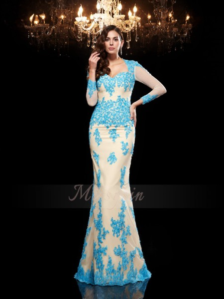 Trumpet/Mermaid 3/4 Sleeves Sweetheart Applique Net Sweep/Brush Train Dresses