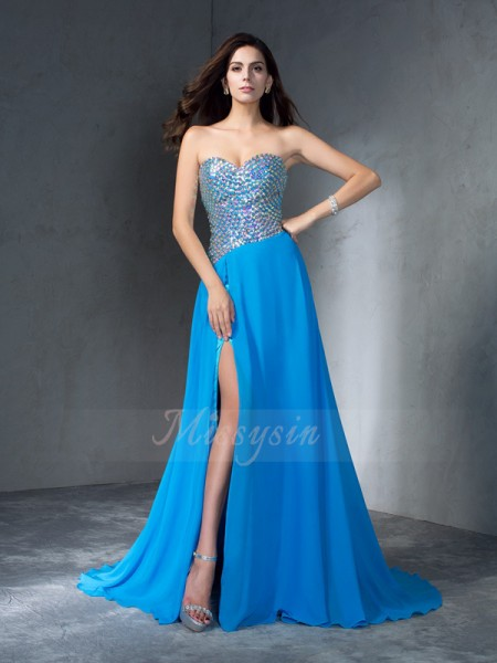 A-Line/Princess Sleeveless Sweetheart Sequin Chiffon Sweep/Brush Train Dresses