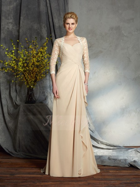 A-Line/Princess 3/4 Sleeves Sweetheart Chiffon Sweep/Brush Train Mother of the Bride Dresses