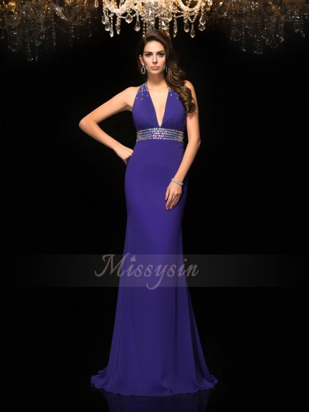 Trumpet/Mermaid Sleeveless V-neck Beading Chiffon Sweep/Brush Train Dresses