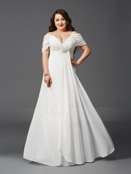 A-Line/Princess Short Sleeves Off-the-Shoulder Ruched Chiffon Floor-Length Plus Size Dresses
