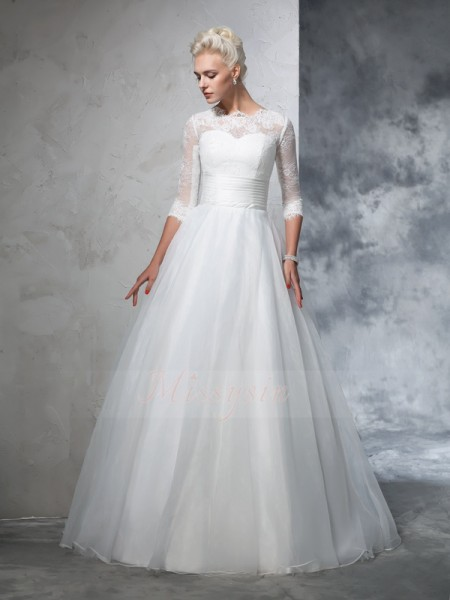 Ball Gown 3/4 Sleeves Jewel Applique Organza Floor-Length Wedding Dresses