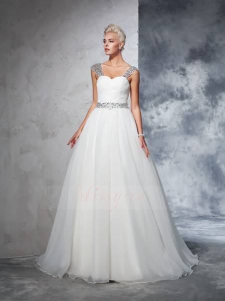 Ball Gown Sleeveless Straps Ruched Net Chapel Train Wedding Dresses