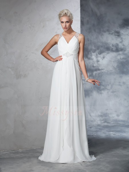 A-Line/Princess Sleeveless V-neck Ruched Chiffon Sweep/Brush Train Wedding Dresses