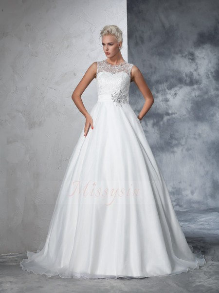 Ball Gown Sleeveless Sheer Neck Net Chapel Train Wedding Dresses