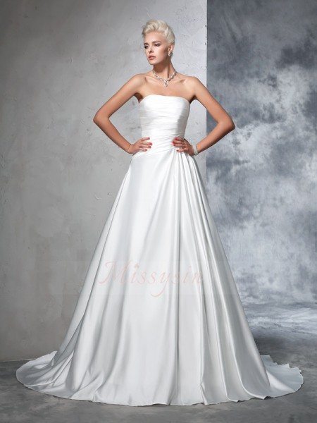 Ball Gown Sleeveless Strapless Ruched Satin Chapel Train Wedding Dresses