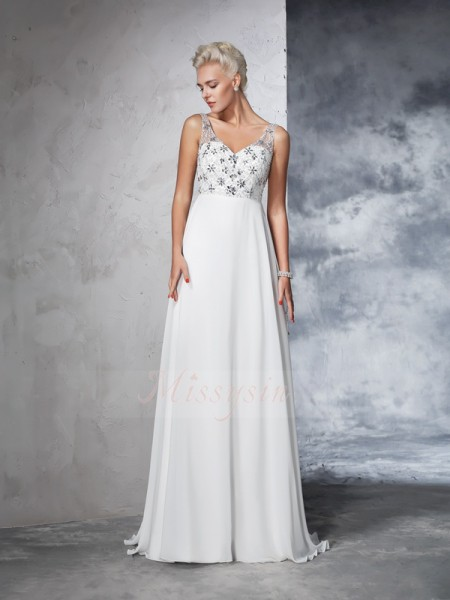 A-Line/Princess Sleeveless V-neck Beading Chiffon Sweep/Brush Train Wedding Dresses