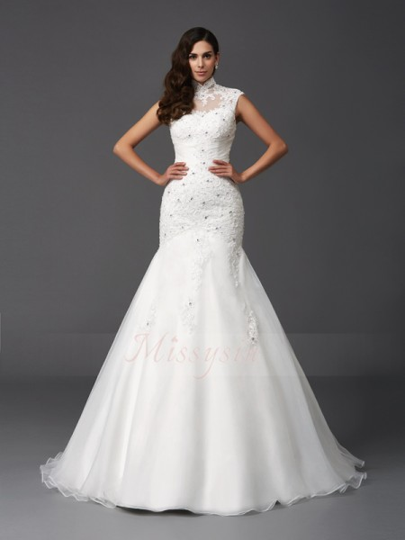 Trumpet/Mermaid Sleeveless High Neck Beading Organza Sweep/Brush Train Wedding Dresses