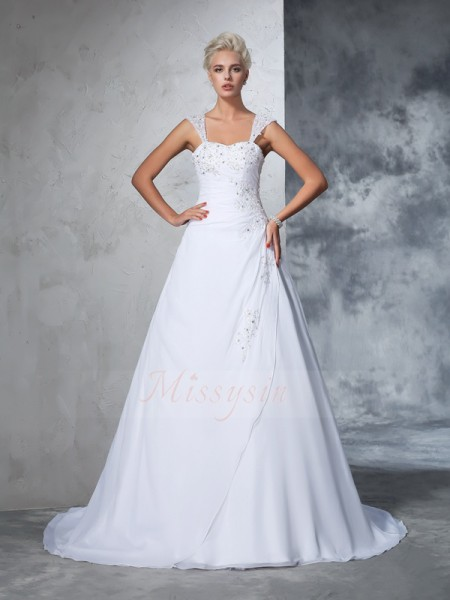 Ball Gown Sleeveless Straps Applique Chiffon Court Train Wedding Dresses