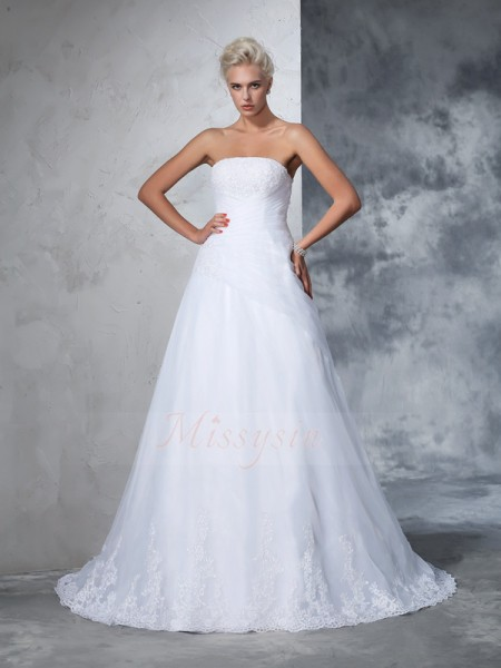 Ball Gown Sleeveless Strapless Applique Net Court Train Wedding Dresses